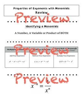 Preview -Properties of Exponents