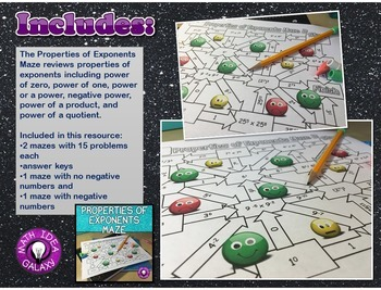 Properties of Exponents Activities Pack