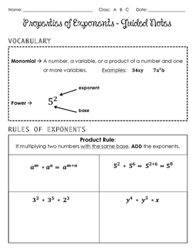 properties of exponents guided notes by algebra in the middle tpt rh teacherspayteachers com Laws of Exponents Chart The Laws of Exponents List