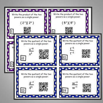 Properties of Exponents Algebra Task Cards - Simplify Algebraic Expressions