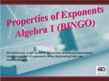 Properties of Exponents (BINGO)