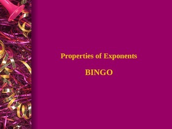 Properties of Exponents BINGO