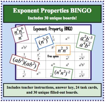 Properties of Exponents BINGO
