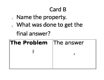 Properties of Exponents Card Activity