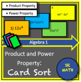 Properties of Exponents: Card Sort (Product & Power Properties Only)