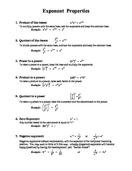 Properties of Exponents Cheats