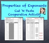 "Properties of Exponents Cut 'N Paste Cooperative Activity ""QUIZ"""