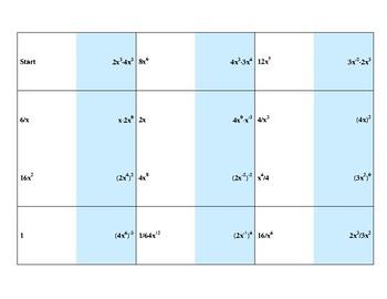 Properties of Exponents Dominoes