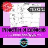 Properties of Exponents - Error Analysis - Task Cards