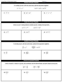 Properties of Exponents Guided Notes and HW