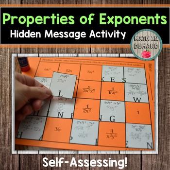 Properties of Exponents Hidden Message Activity