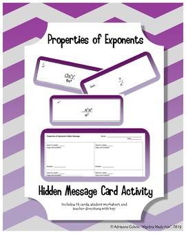 Properties of Exponents Hidden Message Cards (Algebra 1 or Algebra 2)