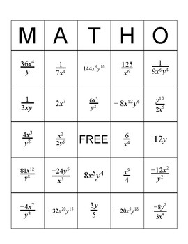 Properties of Exponents MathO