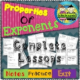Laws of Exponents Notes, Practice, & Exit