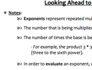 Properties of Exponents Notes, Problems, and Activities