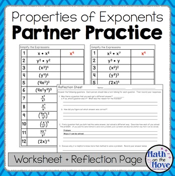 Exponents - Partner Practice and Reflection Worksheets(8.EE.1)