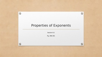 Properties of Exponents Power Point