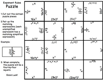 exponents puzzle 8 ee 1 by math on the move teachers pay teachers. Black Bedroom Furniture Sets. Home Design Ideas