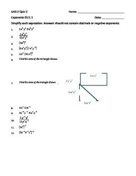 Properties of Exponents Quiz