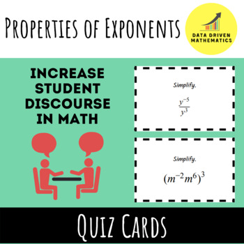 Properties of Exponents Quiz Cards Activity