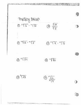 Properties of Exponents & Radicals WS
