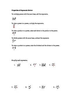 Properties of Exponents Review