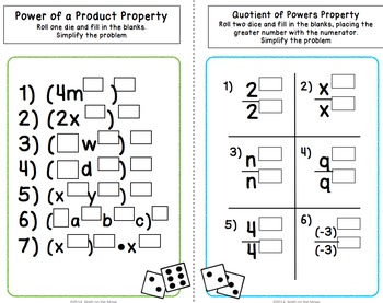 Exponent Properties - Roll the Dice! Stations Activity (8.EE.1)
