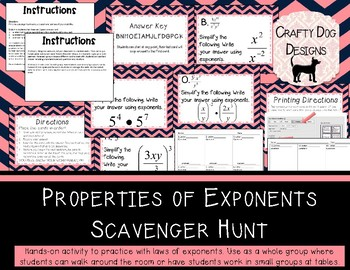 Properties of Exponents Scavenger Hunt / Card Sort for Algebra I or Pre-Algebra