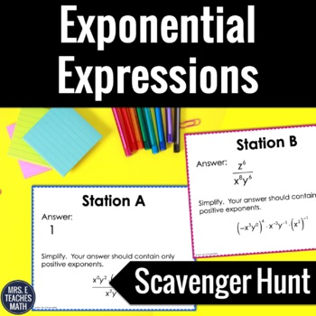 Properties of Exponents Scavenger Hunt