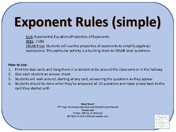 Properties of Exponents (Simple) Scavenger Hunt