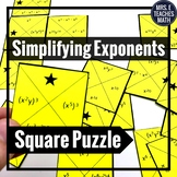 Properties of Exponents Square Puzzle