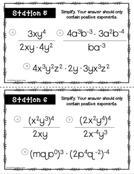 Properties of Exponents Stations Activity