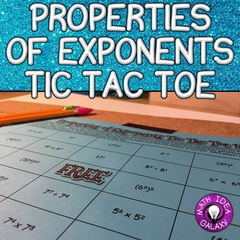 Properties of Exponents Tic Tac Toe