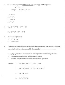 Properties of Exponents Unit warm up activities fold guided notes examples quiz