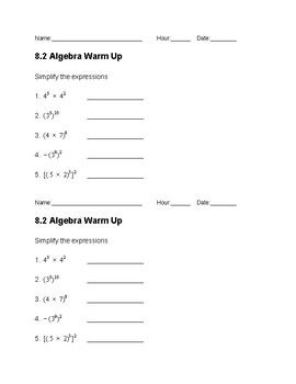 Properties of Exponents Warm Up