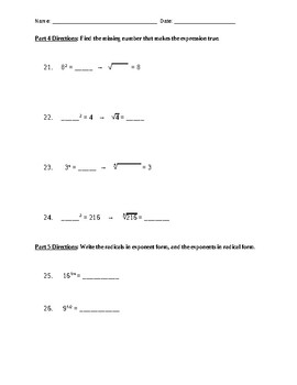 Properties of Exponents and Radicals