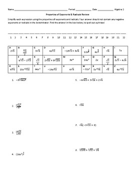 Properties of Exponents and Radicals Puzzle