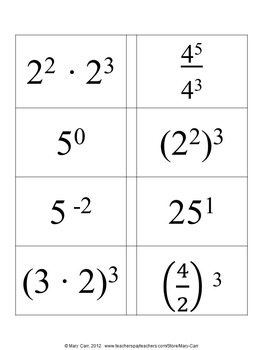 Properties of Exponents with Matching (Concentration) Game