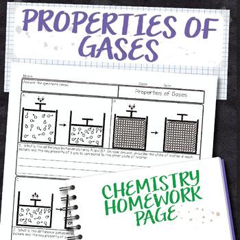 Properties of Gases Chemistry Homework Worksheet