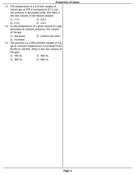Properties of Gases Multiple Choice Worksheet