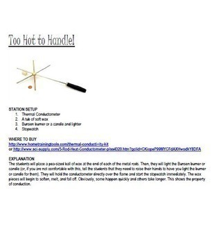 The Behavior of Heat : Hands On Inquiry Stations NGSS MS-PS3-3 {editable}