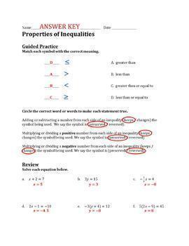 Properties of Inequalities Worksheet