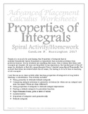 Properties of Integrals Spiral Activity/Homework: With Solutions
