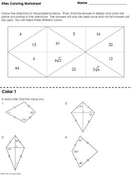 Kites Coloring Worksheet by Mrs E Teaches Math | TpT