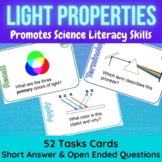 Light Properties & Behavior Task Cards: Waves, Refraction, Reflection, Color