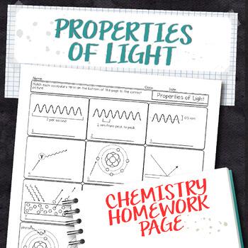 Properties of Light Chemistry Homework Worksheet
