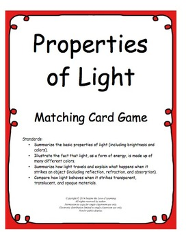 Properties of Light Matching Card Game