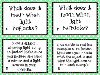 Properties of Light Task Cards