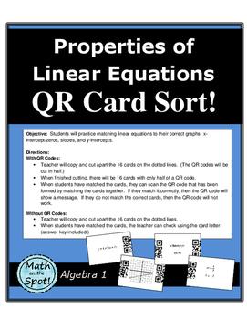 Properties of Linear Equations QR Card Sort Activity