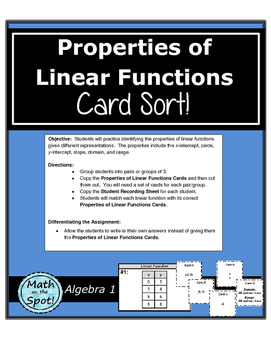 Properties of Linear Functions Card Sort!